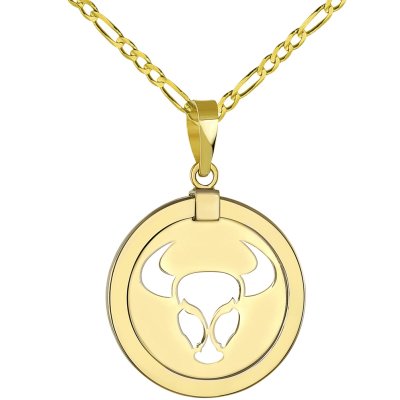 14K Yellow Gold Reversible Round Bull Taurus Zodiac Sign Pendant with Figaro Chain Necklace