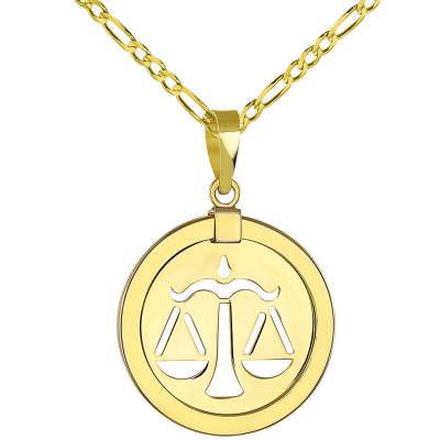 14K Yellow Gold Reversible Round Libra Scale Zodiac Sign Pendant with Figaro Chain Necklace