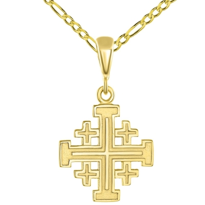 Solid 14K Yellow Gold Crusaders Jerusalem Cross Pendant with Figaro Chain Necklace
