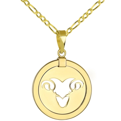 14K Yellow Gold Reversible Round Ram Aries Zodiac Sign Pendant with Figaro Chain Necklace