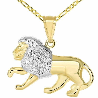 High Polish 14K Yellow Gold Lion Pendant Leo Zodiac Sign Charm with Figaro Chain Necklace