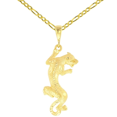 14K Yellow Gold Textured Vertical Panther Charm Animal Pendant with Figaro Chain Necklace