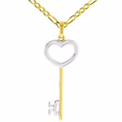 Solid 14K Yellow Gold Open Key to My Heart Love Pendant with Figaro Chain Necklace