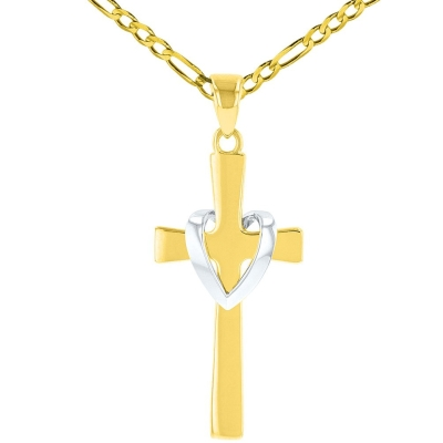 Solid 14K Two-Tone Gold Heart Cross Charm Pendant with Figaro Necklace