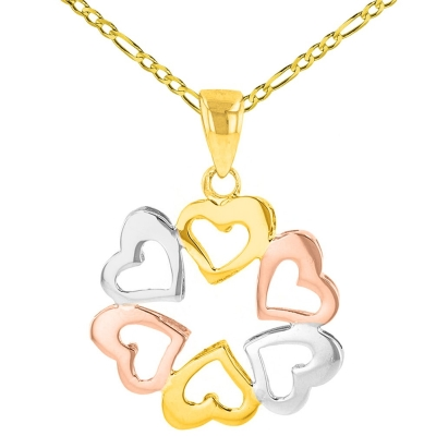 Solid 14K Tri-Color Gold Round Heart Charm Love Pendant Figaro Necklace