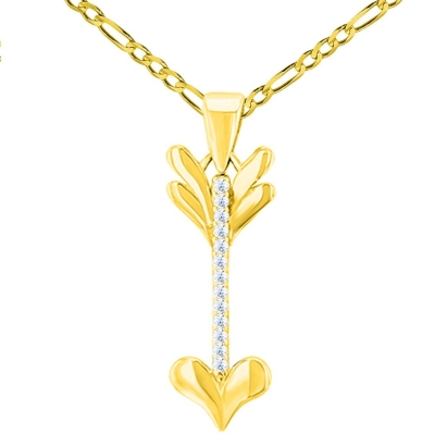 Solid 14K Yellow Gold Reversible CZ Love Arrow Pendant with Figaro Chain Necklace