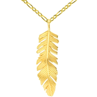 Solid 14k Yellow Gold Polished Feather Charm Pendant with Figaro Chain Necklace