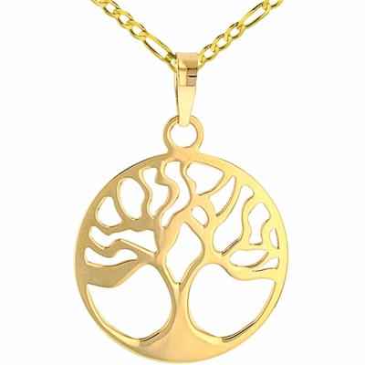 Solid 14k Yellow Gold Tree of Life Disk Chain Pendant Figaro Necklace