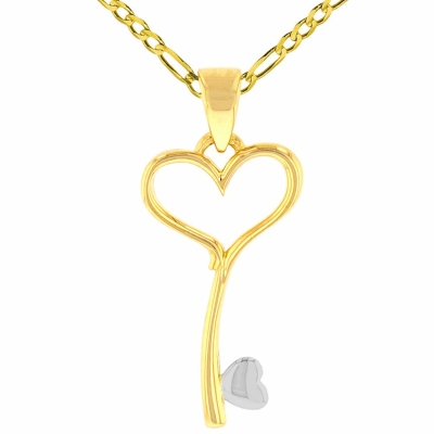 Solid 14K Yellow Gold Open Heart Love Curved Key Pendant with Figaro Chain Necklace