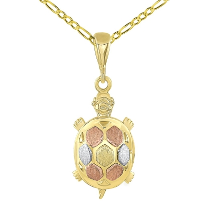 14K Tri-Color Gold Fancy Turtle Charm Animal Pendant with Figaro Chain Necklace