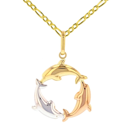 Polished 14K Tri-Color Gold Kissing Dolphin Circle Pendant Figaro Necklace
