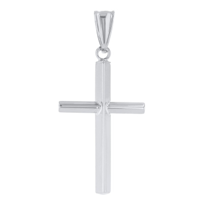 14K White Gold Plain Slender Cross Pendant with High Polish