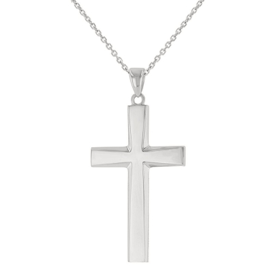14K White Gold Plain and Simple Religious Cross Pendant Necklace