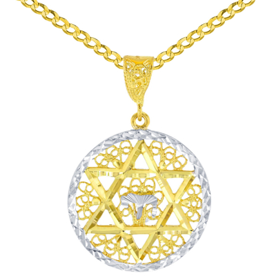 Solid 14K Yellow Gold Round Filigree Star of David with Chai Symbol Pendant Cuban Chain Necklace