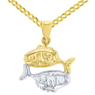 High Polish 14K Yellow Gold Pisces Zodiac Sign Charm Pendant Cuban Chain Necklace