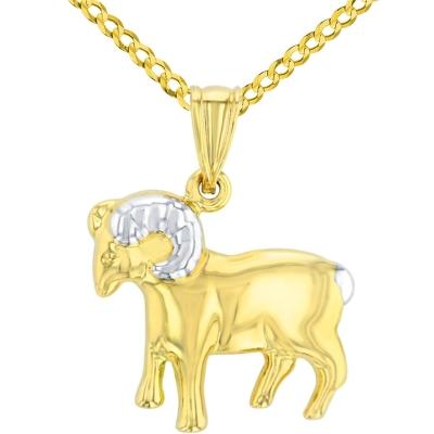 High Polish 14K Yellow Gold Aries Zodiac Sign Pendant Ram Charm Cuban Chain Necklace