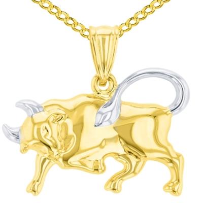 High Polish 14K Yellow Gold Bull Pendant Taurus Zodiac Sign Charm Cuban Chain Necklace
