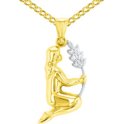High Polish 14K Yellow Gold Virgo Maiden Holding Wheat Zodiac Sign Charm Pendant Cuban Chain Necklace