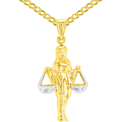 High Polish 14K Yellow Gold Libra Zodiac Sign Charm Holding Scale Pendant Curb Chain Necklace