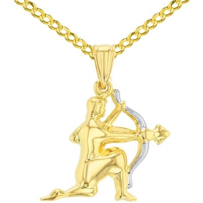 High Polish 14K Yellow Gold Sagittarius Zodiac Sign Charm Pendant Cuban Chain Necklace