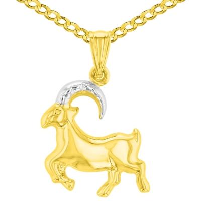 High Polish 14K Yellow Gold Capricorn Zodiac Sign Charm Pendant Cuban Chain Necklace