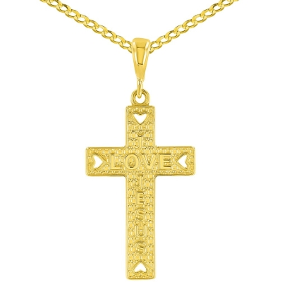 14K Yellow Gold I Love Jesus Cross Charm Pendant Cuban Concave Necklace