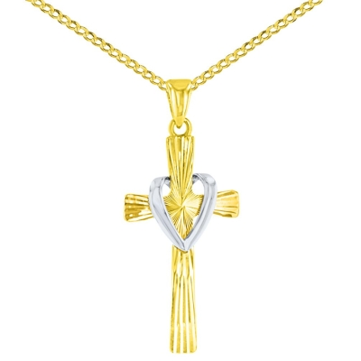 High Polish 14K Two Tone Gold Textured Cross with Heart Charm Pendant Cuban Chain Necklace