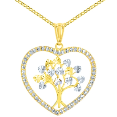 Polished 14K Yellow Gold Textured Heart Shaped Tree of Life Pendant Cuban Chain Necklace