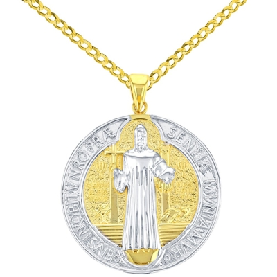 Solid 14K Yellow Gold Polished St Benedict Medal Charm Saint Pendant Cuban Chain Necklace