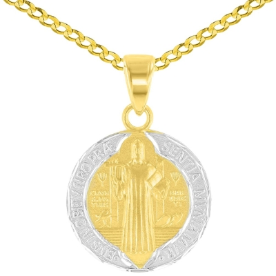 14K Yellow Gold Polished and Satin St Benedict Medal Charm Saint Pendant Cuban Chain Necklace