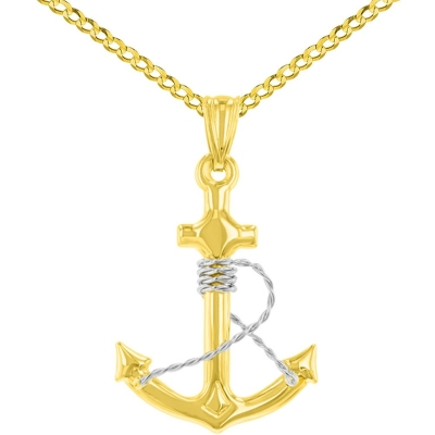 14K Two-Tone Gold Polished Navy Anchor with Rope Charm Nautical Pendant Cuban Chain Necklace