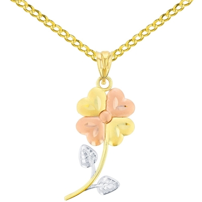 14K Yellow Gold & Rose Gold Textured Tri Color Celtic Four Leaf Clover Charm Pendant Cuban Chain Necklace