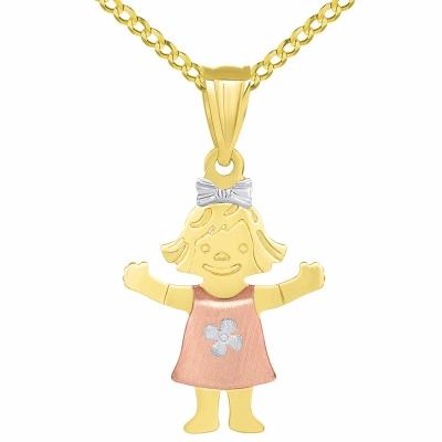Solid 14k Tri Color Gold Smiling Little Girl Figure Charm Pendant Cuban Necklace