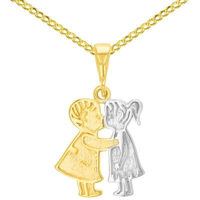 14K Yellow Gold Boy and Girl Kissing Charm Pendant with Cuban Concave Necklace