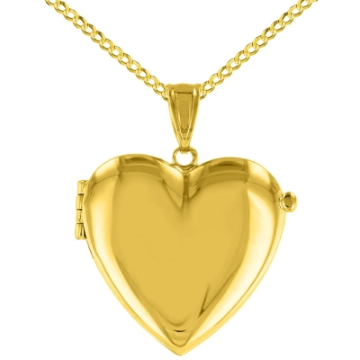 Solid 14K Yellow Gold Heart Shaped Locket Charm Pendant with Cuban Chain Necklace