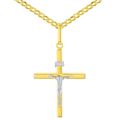 14K Two-Tone Gold Slender INRI Cross Jesus Crucifix Charm Pendant Cuban Curb Chain Necklace