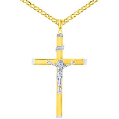 High Polish 14K Two-Tone Gold Large Cross Catholic Crucifix Pendant Necklace