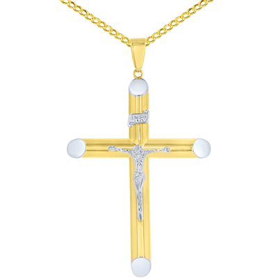 14K Two-Tone Gold Large Tubular Cross INRI Crucifix Pendant with Cuban Chain Necklace
