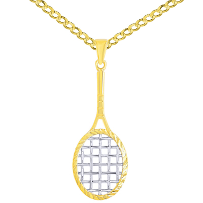 14K Yellow Gold Tennis Racquet with Texture Sports Pendant Necklace