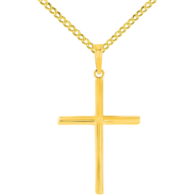 High Polished 14K Yellow Gold Plain Slender 3D Cross Pendant with Chain Necklace