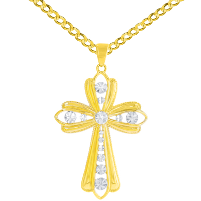 14K Yellow Gold Polished Textured Milgrain Edged Cross Pendant Cuban Chain Necklace
