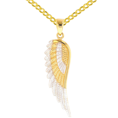Solid 14k Yellow Gold Textured Angel Wing Charm Pendant with Cuban Curb Chain Necklace