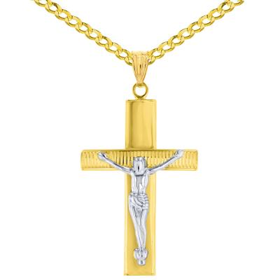 14K Two-Tone Gold Roman Catholic Cross Crucifix with Jesus Christ Pendant Necklace