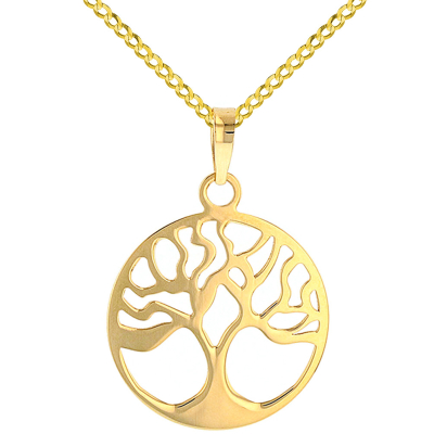 Solid 14k Yellow Gold Tree of Life Disk Chain Pendant Cuban Necklace