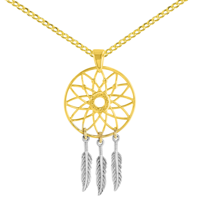 14K Two-Tone Gold Native American Dreamcatcher Charm Pendant with Cuban Necklace