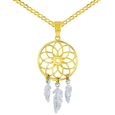 Solid 14K Two-Tone Gold Native American Dreamcatcher Charm Pendant Necklace