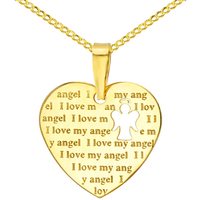 14K Yellow Gold Heart Charm with I Love My Angel Script Pendant Cuban Chain Necklace