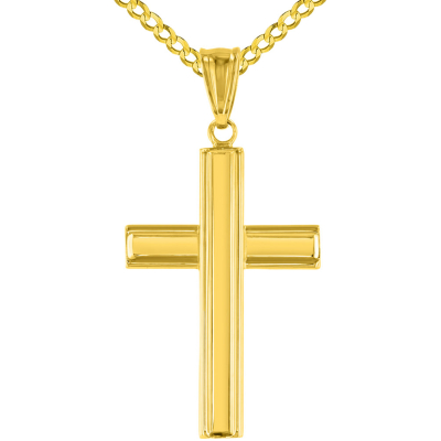 Polished 14K Yellow Gold Plain Religious Cross Pendant with Cuban Necklace