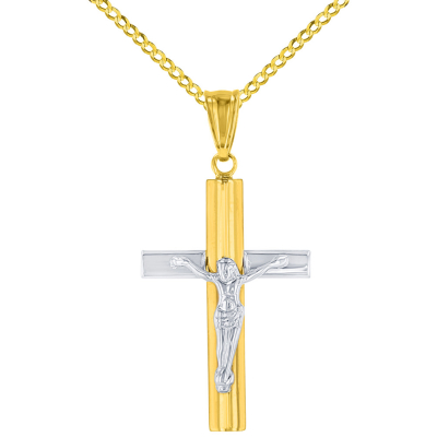 14K Yellow Gold & White Gold Passion Cross Crucifix Pendant Necklace