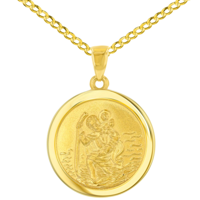 14k Yellow Gold Round Saint Christopher Medal Pendant Cuban Chain Necklace